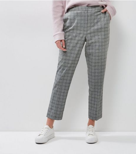 Grey Check Slim Leg Trousers  | New Look