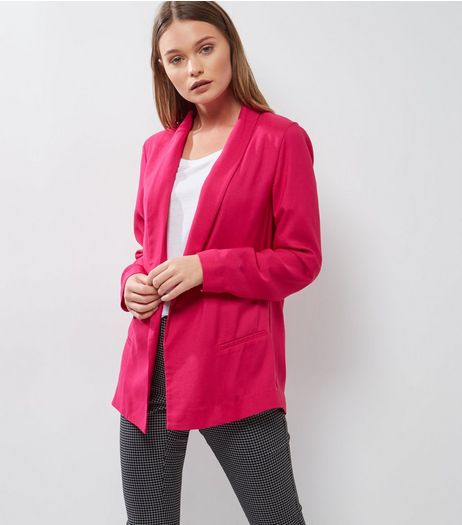 Bright Pink Longline Blazer | New Look