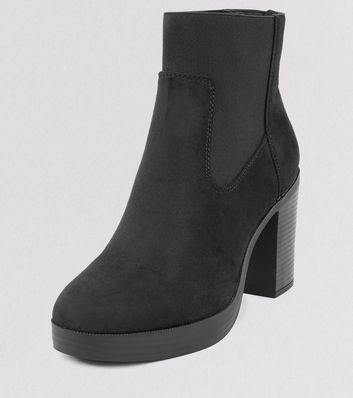 wide fit black suedette chunky platform boots