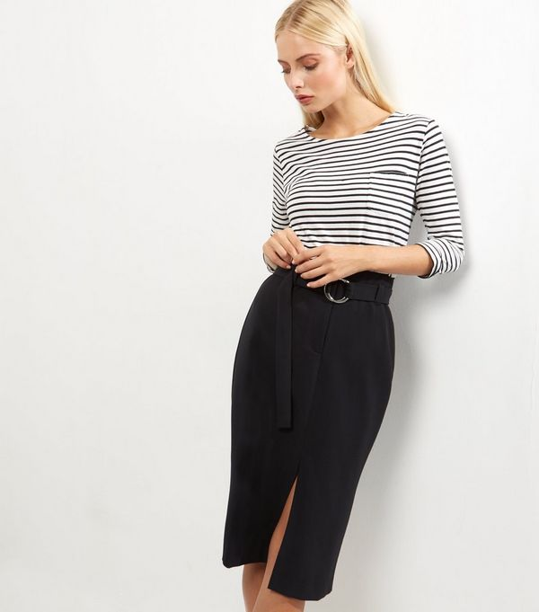 Black Belted Midi Pencil Skirt