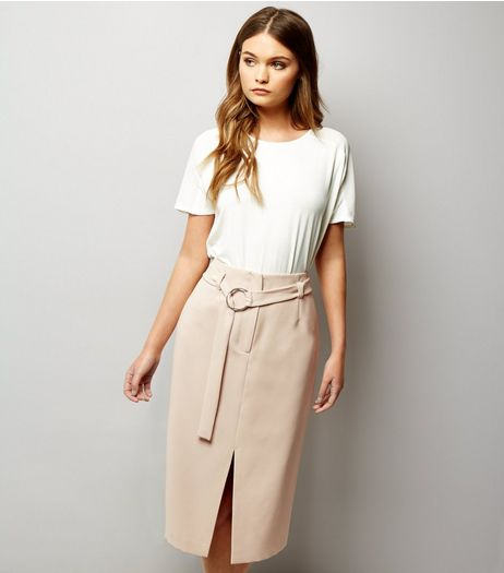 Stone Hoop Trim Belted Split Front Pencil Skirt  | New Look