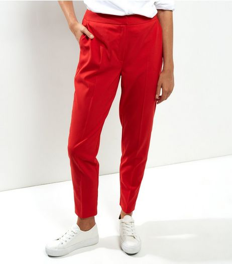 Red Slim Leg Trousers | New Look
