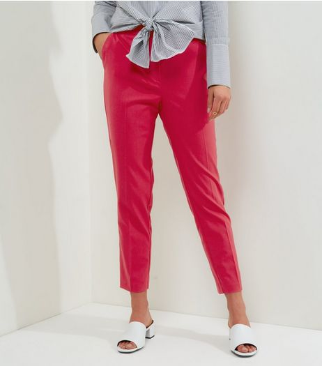 Bright Pink Slim Leg Trousers  | New Look