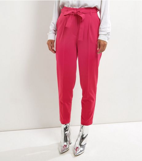 Bright Pink Tie Waist Trousers  | New Look