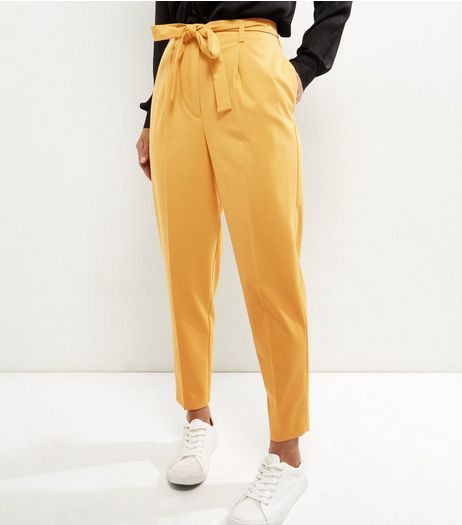 Yellow Tie Waist Tapered Trousers | New Look