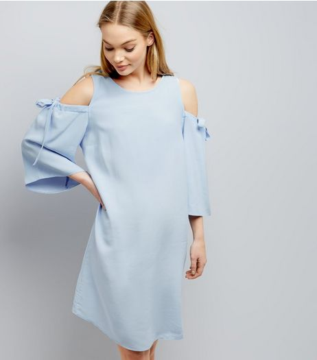 Blue Cold Shoulder Tie Sleeve Swing Dress  | New Look