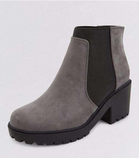 Teens Grey Suedette Zip Back Chelsea Boots | New Look