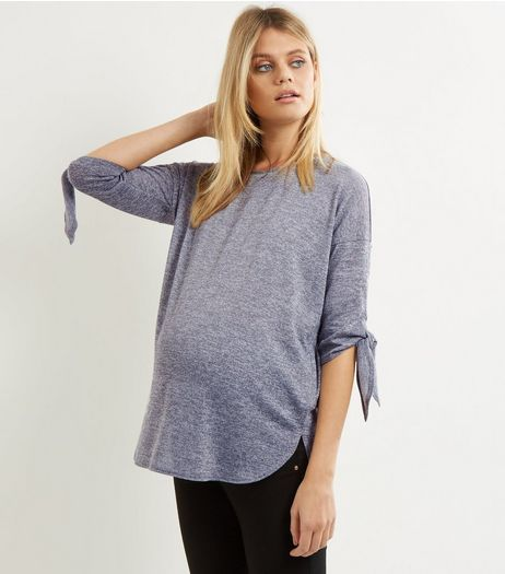 Maternity Grey Fine Knit Tie Sleeve Top | New Look