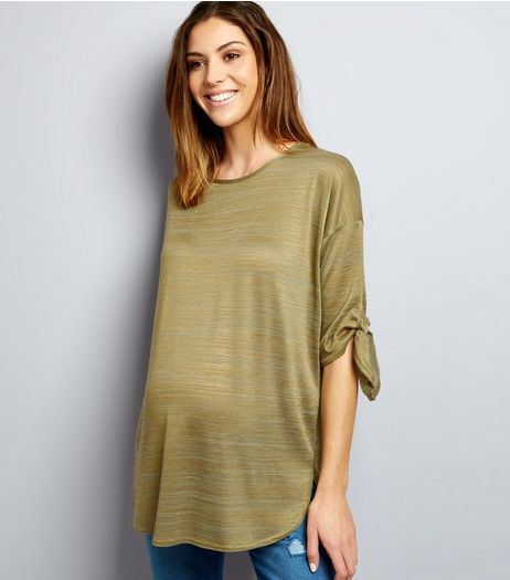 Maternity Khaki Fine Knit Tie Sleeve Top | New Look