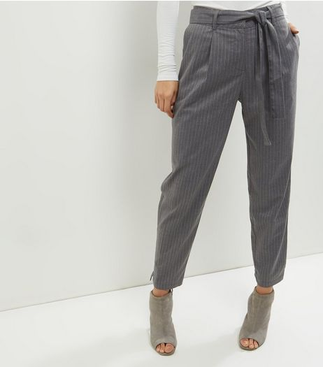Grey Pinstripe Tie Waist Trousers  | New Look