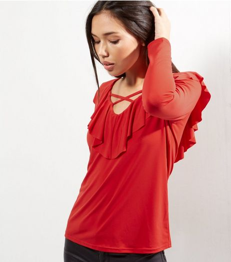 Red Cross Strap Front Frill Trim Top  | New Look