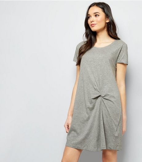JDY Grey Knot Front Short Sleeve Dress  | New Look