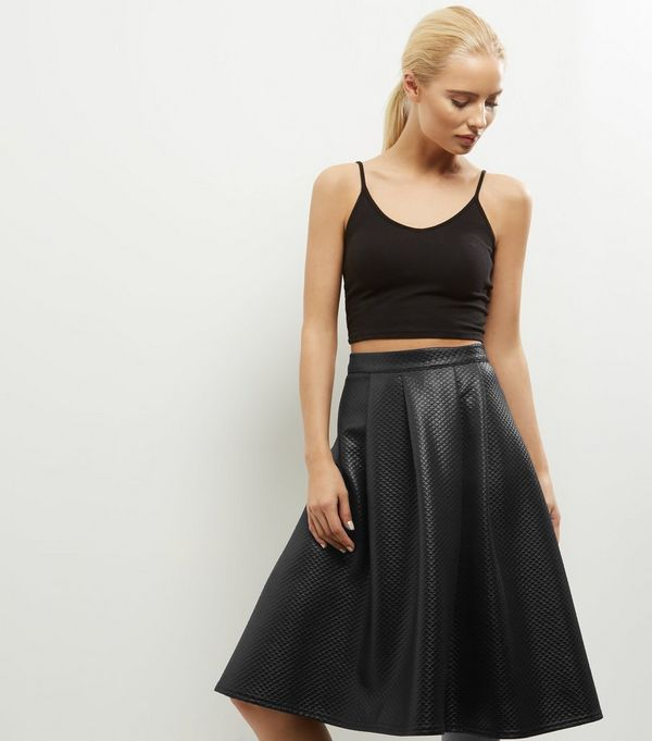 Black Quilted Leather-Look Midi Skirt