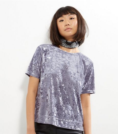 Grey Crushed Velvet T-Shirt | New Look