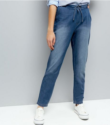 JDY Blue Tie Waist Trousers  | New Look