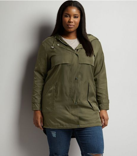 Curves Khaki Lightweight Parka | New Look