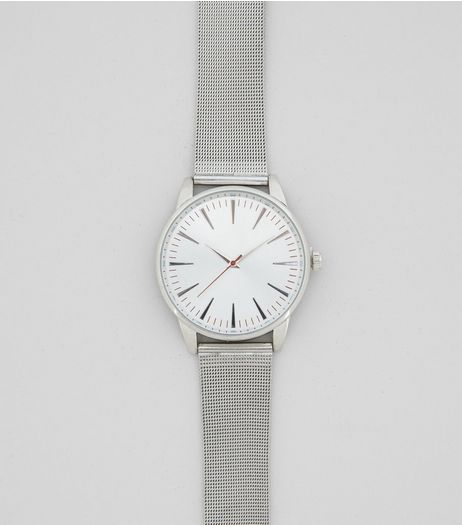Silver Mesh Strap Minimalistic Watch | New Look