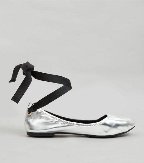 Silver Metallic Tie Up Pumps | New Look