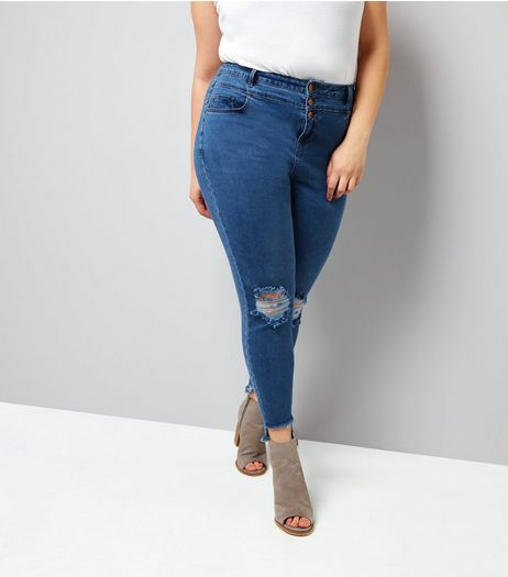 Curves Blue High Waist Ripped Skinny Jeans | New Look
