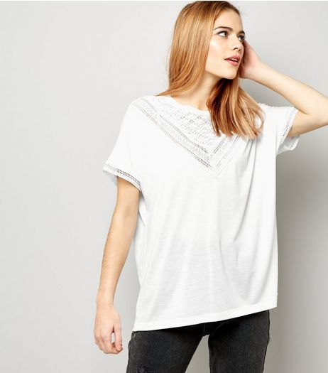 JDY White Lace Trim Short Sleeve Top | New Look