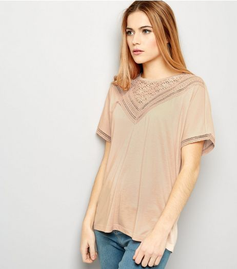 JDY Pink Lace Trim Short Sleeve Top | New Look