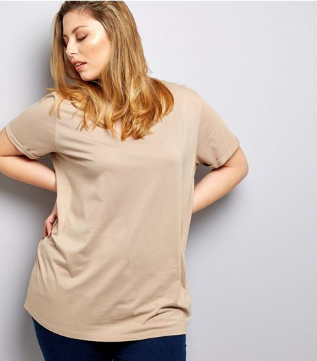 Curves Stone Boyfriend T-Shirt | New Look