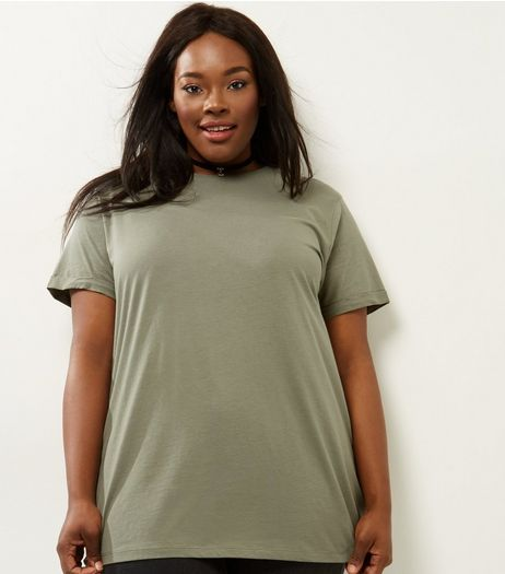 Curves Khaki Boyfriend T-Shirt  | New Look