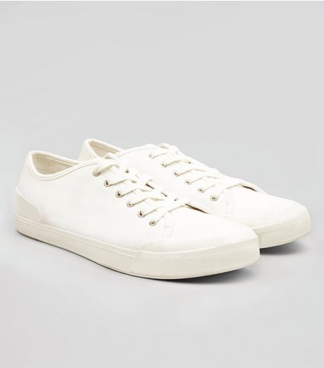 White Canvas Trainers | New Look