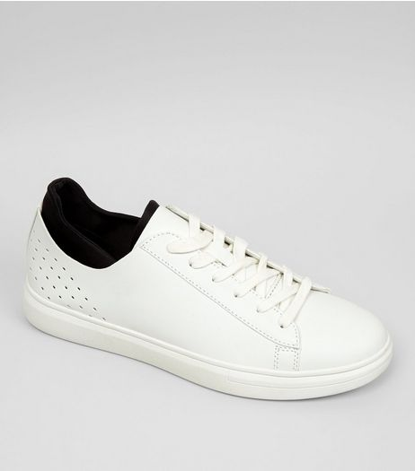 White Contrast Trim Sneakers | New Look