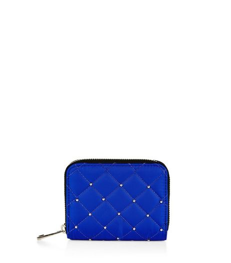 Blue Quilted Studded Mini Zip Around Purse | New Look