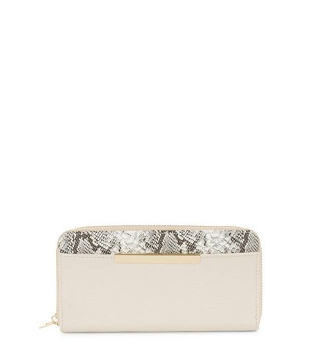 Cream Snakeskin Panel Purse | New Look