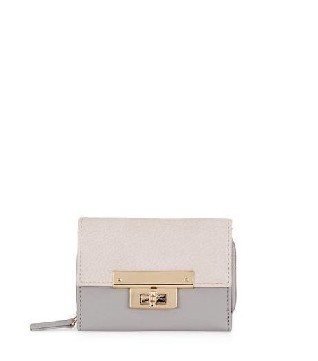 Cream Contrast Panel Foldover Purse | New Look