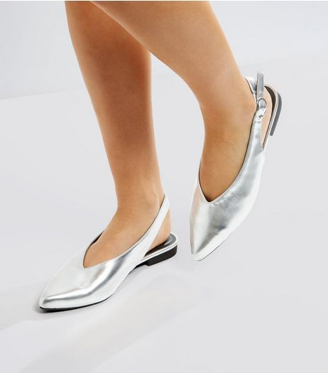 Silver Pointed Sling Back Pumps | New Look