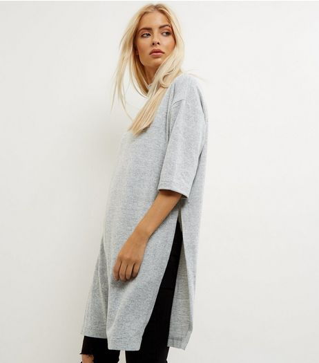 Pale Grey Brushed Fine Knit Side Split Longline Top | New Look