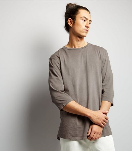 Stone 3/4 Sleeve Curved Hem T-Shirt | New Look