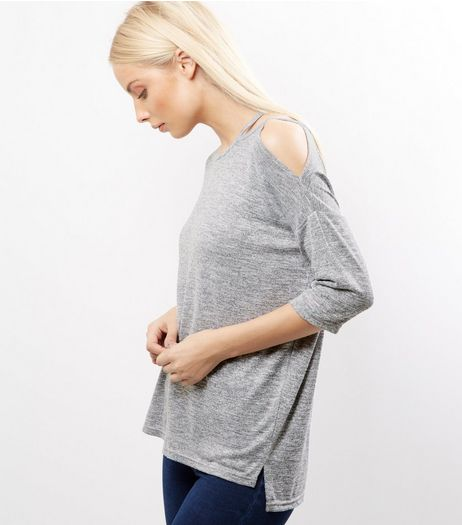 Grey Cut Out Shoulder Top | New Look