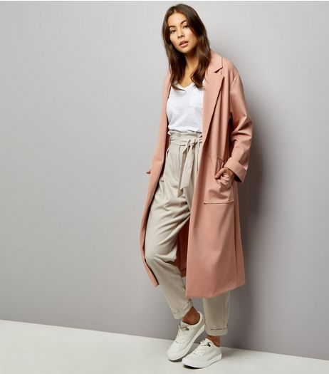 Shell Pink Soft Maxi Duster Coat | New Look
