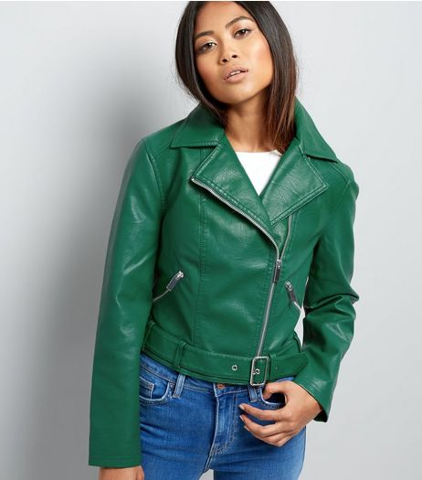 Petite Green Belted Leather-Look Cropped Biker Jacket | New Look