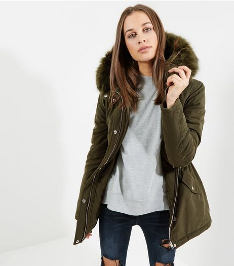 Tall Khaki Faux Fur Trim Parka  | New Look