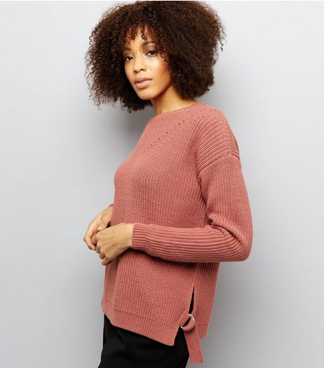 Tall Shell Pink Ribbed D Ring Hem Jumper | New Look