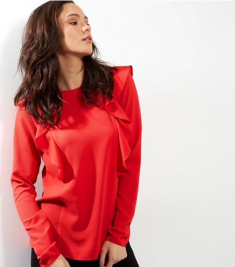 Tall Red Frill Trim Long Sleeve Top | New Look