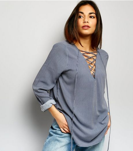 JDY Light Grey Stripe Lattice Front Top  | New Look