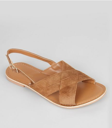 Tan Suede Cross Strap Sandals | New Look
