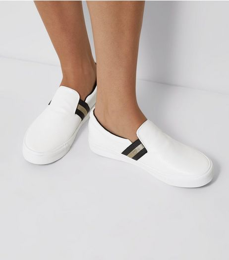 White Contrast Elasticated Strap Plimsolls | New Look