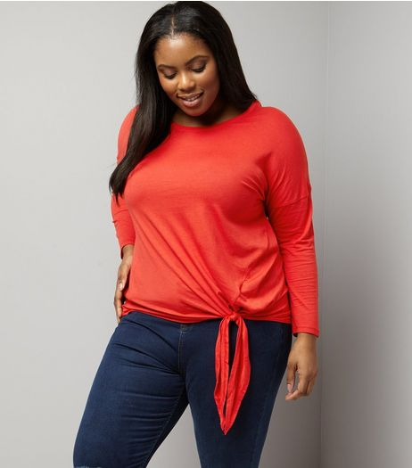 Curves Red Tie Side Long Sleeve Top | New Look