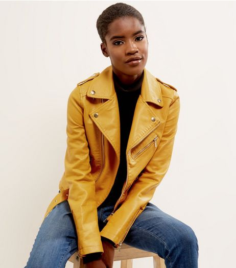 Loving This Yellow Leather-Look Biker Jacket | New Look