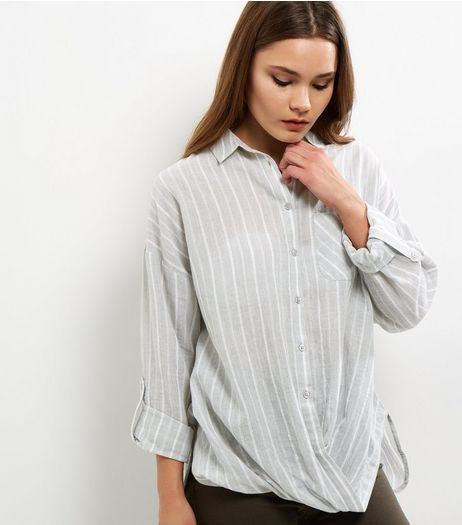 Light Grey Stripe Wrap Front Shirt | New Look