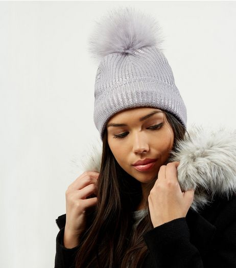 Silver Metallic Faux Fur Pom Pom Hat | New Look