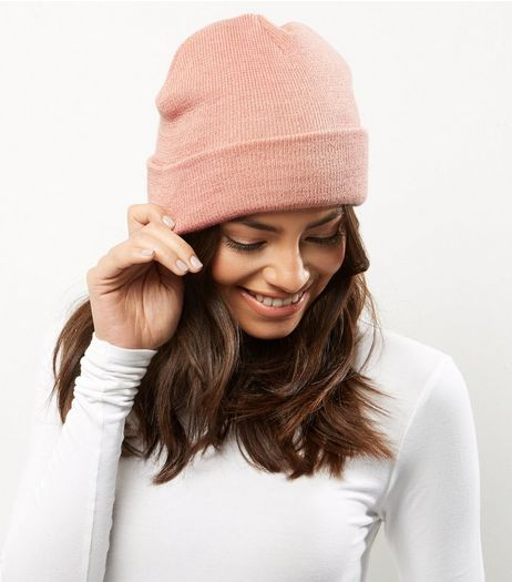 Shell Pink Beanie Hat | New Look