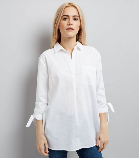 White Tie Sleeve Overhead Shirt | New Look
